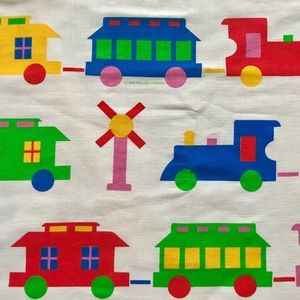Vintage 80s kids rainbow train print curtains 1984